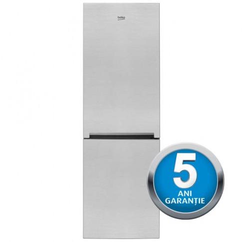 Combina frigorifica Beko RCSA365K20XP, 346 l, clasa A+, inaltime 185.3 cm, functie Active Fresh Blue Light, argintiu
