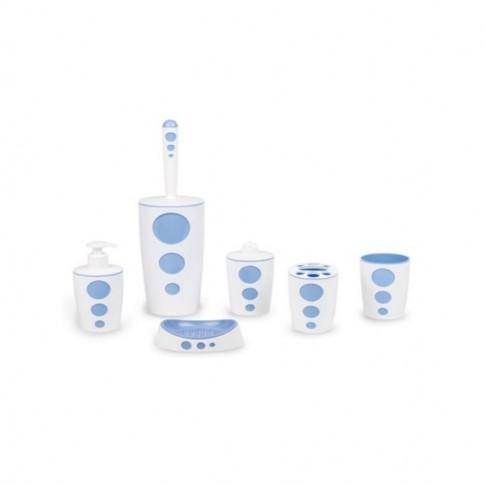 Set accesorii pentru baie, Punto FLR000325, alb / albastru, 6 piese