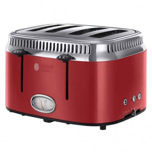 Prajitor de paine Russell Hobbs 21690-56, 1200 W, 4 felii, tehnologie prajire rapida, functie decongelare, 6 trepte putere, rosu, gratar pentru chifle