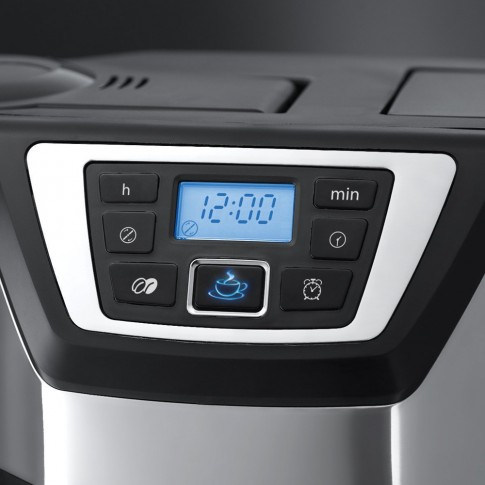 Cafetiera Russell Hobbs 22000-56, cu rasnita, 1025 W, 1.25 l, capacitate 12 cesti, functie antipicurare, timer, negru + argintiu