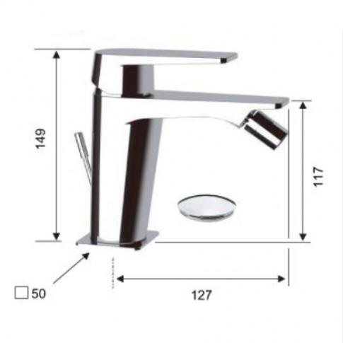 Baterie baie pentru bideu, Remer Dream D20, cu ventil, monocomanda, finisaj cromat