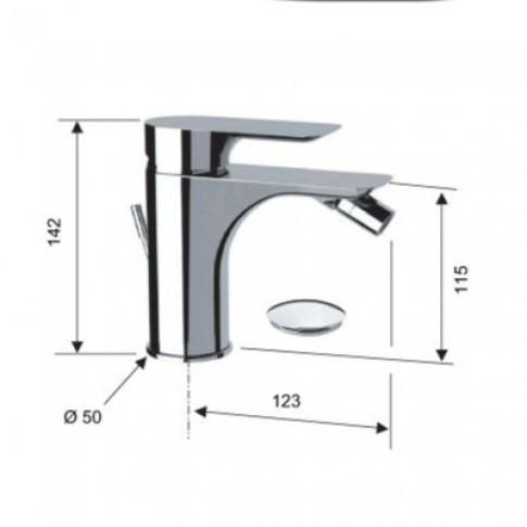 Baterie baie pentru bideu, Remer Infinity I20, cu ventil, monocomanda, finisaj cromat