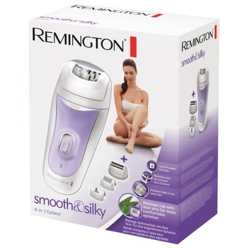 Epilator Remington EP7020, 7 W, 40 discuri, 2 viteze, cap lavabil, cap masaj cu Aloe Vera, cap detalii pentru zone dificile, perie de curatat, husa, alb + mov