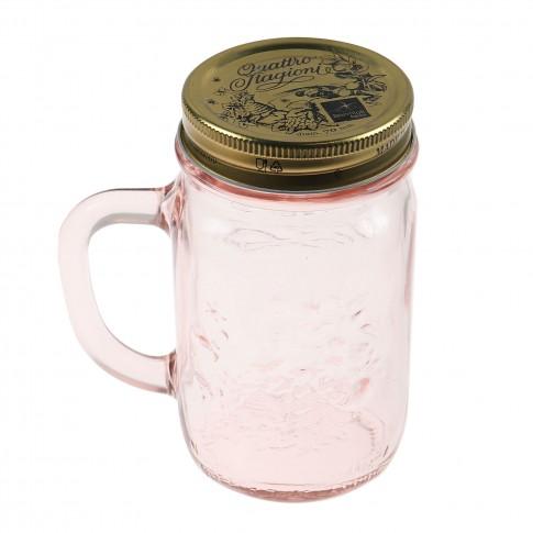Borcan cu maner Quattro Stagioni 4049170, sticla roz, 415 ml