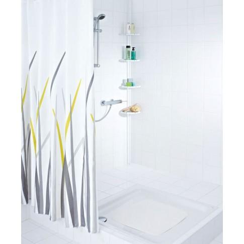 Etajera pentru baie din aluminiu si plastic 11081601, montare pe colt, ajustabila, 130 / 160 cm