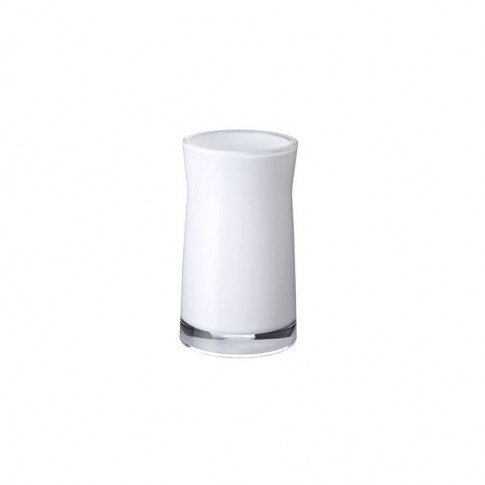 Pahar baie pentru igiena personala, Davo Pro Disco 2103101, acrilic, alb, 6.5 x 6.5 x 12.4 cm