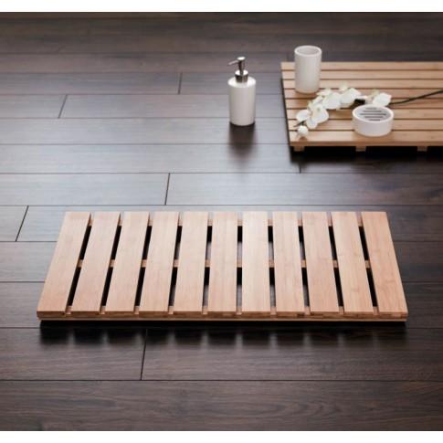Covoras baie din bambus, Grating 21107211, 38 x 72 cm