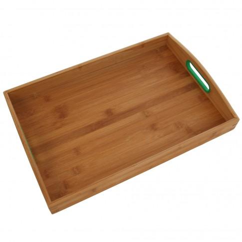 Tava dreptunghiulara pentru servire, din bambus, T1001-L, 48.5 x 33 x 7 cm