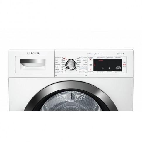 Uscator de rufe automat Bosch WTW85551BY, condensare si pompa de caldura, 9 kg, clasa A++, latime 60 cm, tehnologie SelfCleaning, ComfortControl, alb
