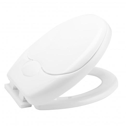 Capac WC din polipropilena, KT-Q10PD, alb, inchidere lenta, cu adaptor copii, 370 x 440 mm