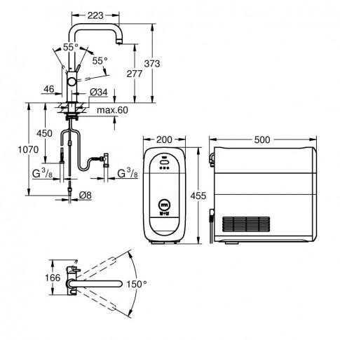 Baterie bucatarie, Grohe Blue Home 31456000, cu unitate filtrare apa, realizare apa carbogazoasa