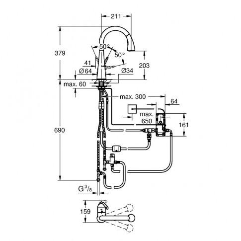 Baterie bucatarie, cu dus extractibil si senzor, Grohe Zedra Touch 30219001, stativa, monocomanda, alama, finisaj cromat
