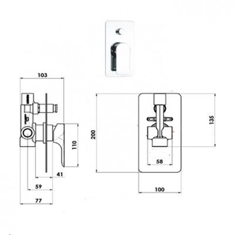 Baterie baie pentru cada / dus, incastrabila, Infinity I09, montaj incastrat, monocomanda, finisaj cromat