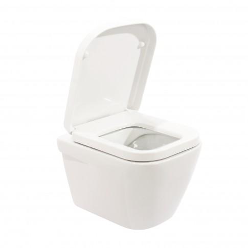 Set vas WC suspendat + capac lenta (soft close) Sanindusa Look Rimflush, 34.7 x 33.5 x 50.4 cm