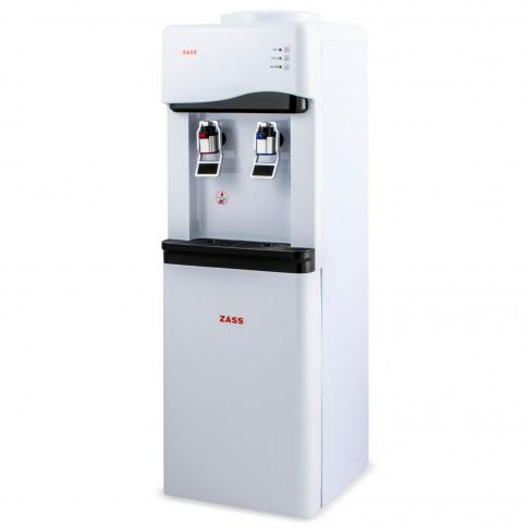 Dozator de apa Zass ZWD 02 CR, cu mini frigider 12 l, putere incalzire 550 W, putere racire 80 W, rezervor apa inox, termostat automat, alb