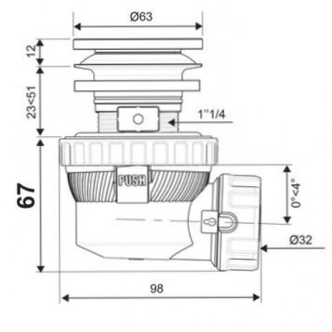 """Sifon pentru lavoar, cu ventil, Wirquin  XS Pure 30721532, 1 1/4"""""""