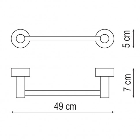 Suport prosop baie Iobagno Alfa AC1506, tip bara, 49 x 5 x 7 cm