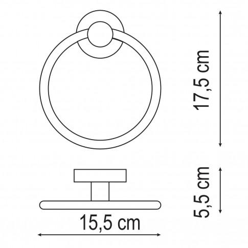 Suport prosop baie Iobagno Alfa AC1508, tip inel, 17.5 x 5.5 cm