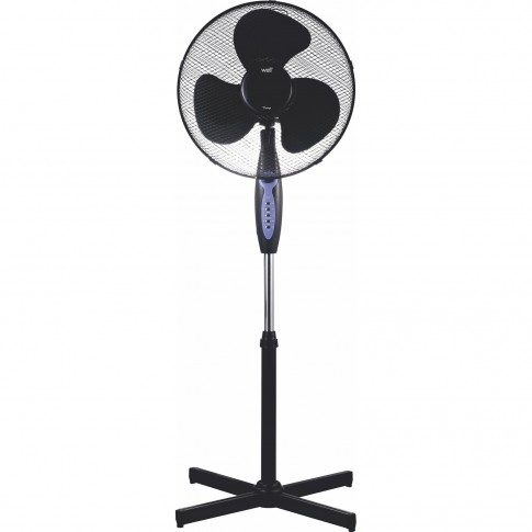 Ventilator cu picior Well, 45 W, 3 viteze, diametru 43 cm, telecomanda, negru