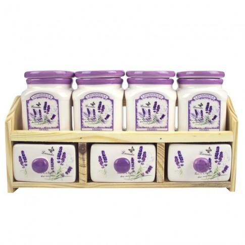 Set pentru depozitare condimente, Kasemi, ceramica, decor lavanda, 7 + 1  bucati