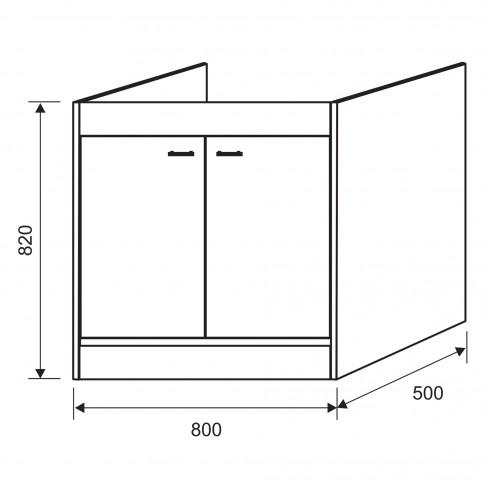 Masca pentru chiuveta bucatarie de inox Crina, PVC, rovere, 80 x 50 x 82 cm