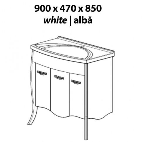 Masca baie + lavoar, Martplast Clasic Breeze, cu usi, alb, 90 x 47 x 85 cm