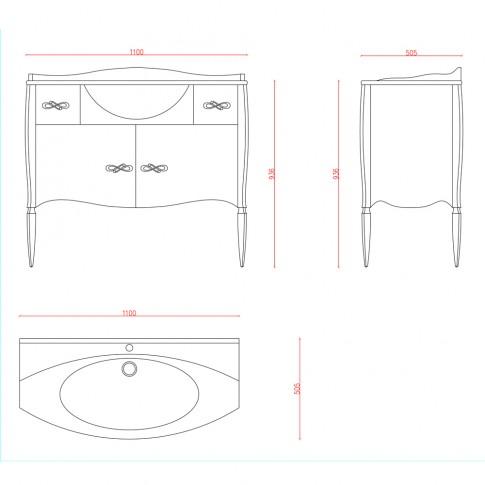 Masca baie + lavoar Martplast Bari 105, cu sertare si usi, negru, 110 x 50.5 x 93.6 cm