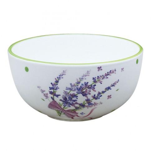Bol pentru servirea mesei HC141R-H24, ceramica, alb + mov, 14 x 7 cm