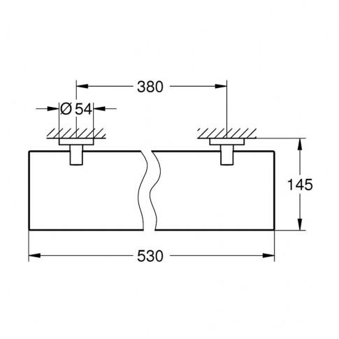 Etajera pentru baie din sticla Grohe Essentials 40799001, 53 x 14.5 cm