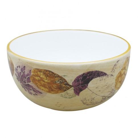 Bol pentru servirea mesei HC141R-H26, ceramica, bej + violet, 14 x 7 cm
