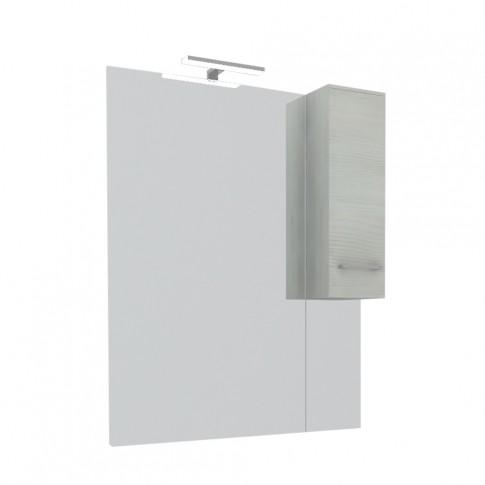 Dulap baie cu oglinda, iluminare, 1 usa, dreapta, Savini Due Rubino 4424D, rovere grigio, 81 x 17 x 107.5 cm