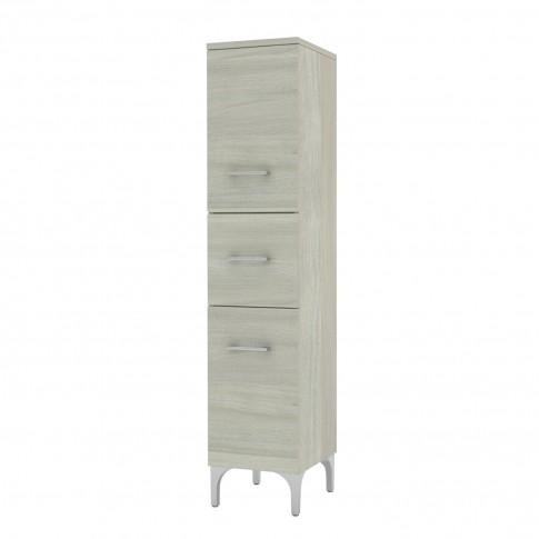 Dulap baie pe sol, 2 usi, cu sertar, Savini Due Rubino, finisaj rovere grigio, deschidere pe dreapta, 148 x 31.5 cm