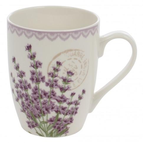 Cana EY3170, portelan, alba + model floral multicolor, 300 ml