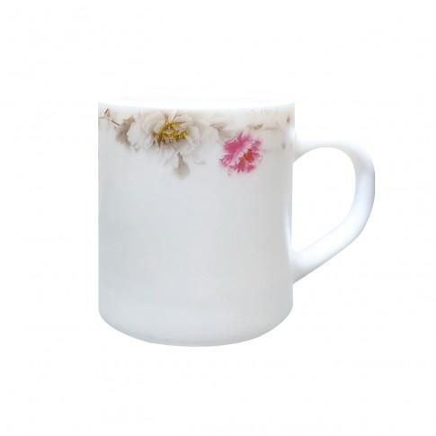 Cana DEC 4 2802064, sticla opal, alb + model floral multicolor, 230 ml