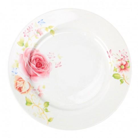 Farfurie desert GX1, portelan, alb + model floral multicolor, 20 cm