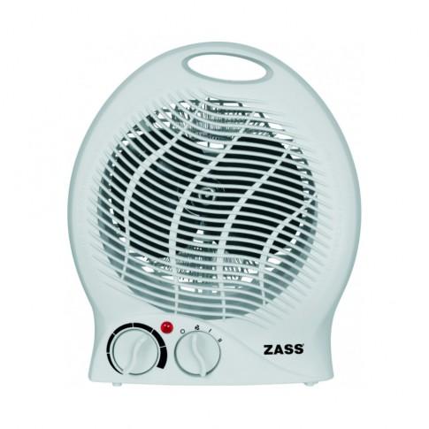 Aeroterma electrica Zass ZFH 03, 2 trepte, 2 kW, 135 x 165 x 220 mm, termostat reglabil, functie ventilatie