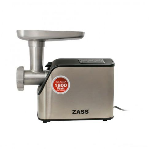 Masina de tocat carne, electrica, Zass ZMG 07, functie Reverse, 1.8 kg/min, 1800 W, gri cu negru, accesoriu suc rosii