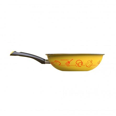 Tigaie Lumenflon Wok Diamant line, galben + portocaliu, aliaj de aluminiu alimentar, 28 cm