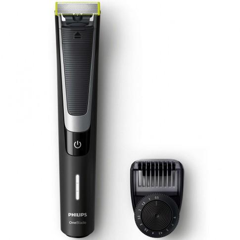 Aparat de ras Philips OneBlade Pro QP6510/20, acumulator Li-ion, autonomie 60 minute, utilizare umeda si uscata, pieptene precizie cu 12 lungimi