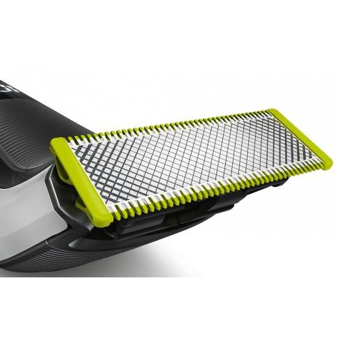 Aparat de ras Philips OneBlade Pro QP6520/20, acumulator Li-ion, autonomie 90 minute, utilizare umeda si uscata, pieptene precizie cu 14 lungimi, stand, husa