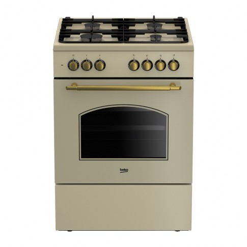 Aragaz electric / gaz Beko FSE62134DCR, 4 arzatoare gaz, cuptor electric, aprindere electrica, grill, timer, latime 60 cm, bej