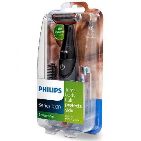 Aparat de ras Philips BG105/10, functionare cu baterii, autonomie 2 luni, lame inox 32 mm, pieptene bidirectional, sistem de protectie a pielii, complet lavabil