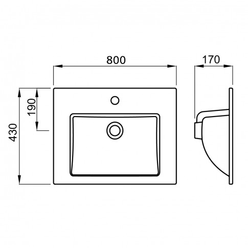 Lavoar Linea H811568000041, alb, dreptunghiular, 80 cm