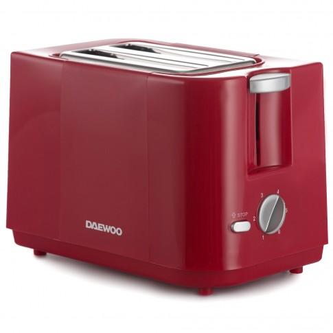 Prajitor de paine Daewoo DBT40R, 750 W, 2 felii, control electronic rumenire, 6 trepte putere, rosu