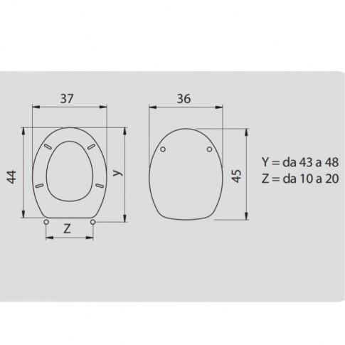 Capac WC din MDF, Charme Crema 2FSE156553, galben, inchidere standard, 370 x 440 mm