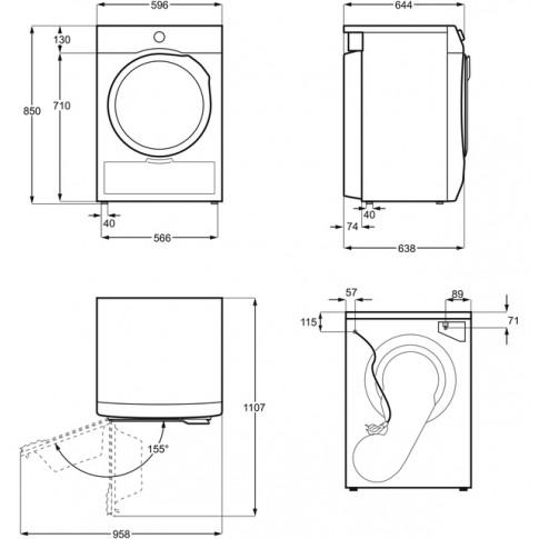 Uscator de rufe automat Electrolux PerfectCare 700 EW7H438B, pompa de caldura, 8 kg, clasa A+, latime 60 cm, sistem GentleCare, sistem filtrare EcoFlow, alb