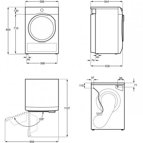 Uscator de rufe automat Electrolux PerfectCare 900 EW9H378S, pompa de caldura, 8 kg, clasa A+++, latime 60 cm, sistem CycloneCare, motor Inverter, senzori SmartSense, alb