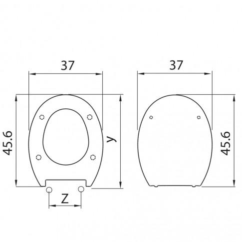 Capac WC din duroplast, AP, alb, inchidere lenta, 370 x 475 mm