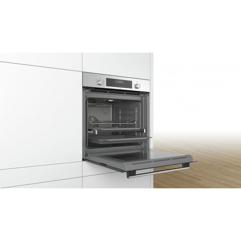 Cuptor electric incorporabil Bosch HBG5370S0, clasa A, 71 litri, 7 functii, grill, convectie aer 3D, sistem EcoClean Direct, 2700 W, argintiu
