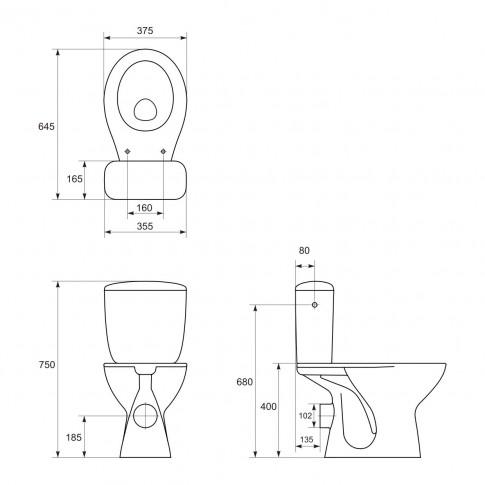 Set vas WC + rezervor + mecanism + capac, Keops Eko 623, din ceramica, 37.5 x 75 x 64.5 cm
